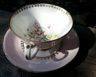 Vintage Royal Grafton wide mouth footed tea cup and saucer