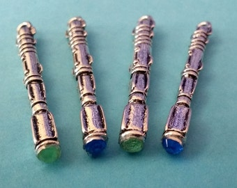 4 Antiqued Silver Sonic Screwdriver Charms with a Blue or Green Crystal | 10th Doctor | 11th Doctor | 2024
