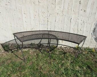 Vintage Woodard Metal Patio Porch Half Moon Bench Lounge Seat B