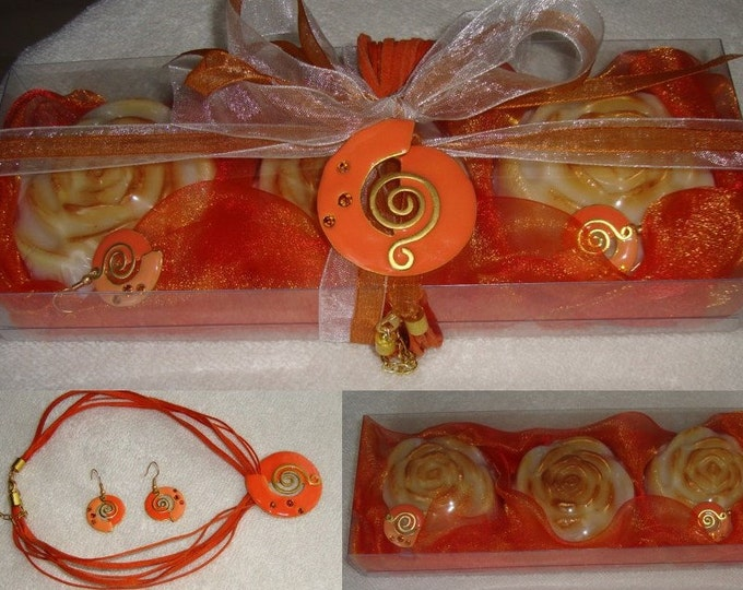 Sophisticated Golden Orange Beauty Gift Set for Women, Luxury Glycerin Scented Soaps, Orange Jewelry Set, Valentine Gift, Soap flower