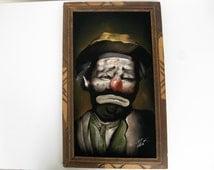 Hobo Clown Original Painting on Black Velvet Emmett Kelly