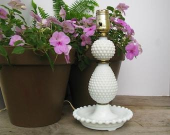Hobnail Milk Glass Lamp Small White Accent Lamp Boudoir Lamp