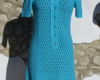 Vintage Knitted Dress. 1960s Retro Mod Dress in Aqua Blue. 60s Handmade Crochet Dress