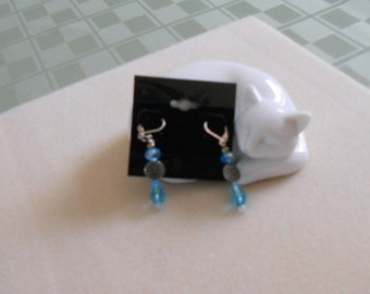 Aqua leverback earrings