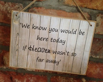 A4 We know you would be here today if heaven wasnt so far away wedding sign