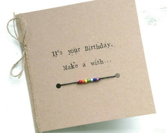 Birthday card with wish bracelet