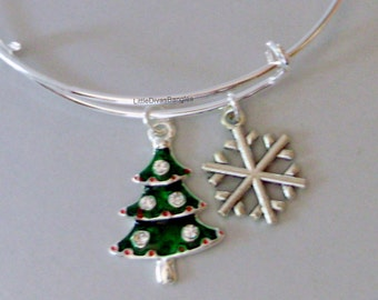 Christmas Tree / Snowflake  CHRISTMAS Adjustable BANGLE -Personalize Your Expandable Bracelet - Gift For Her - Under 20 USA W1