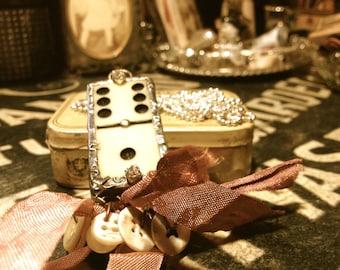 Buttons * Necklace, Soldered, Vintage, Domino, bakelite, ivory, vintage buttons, amulet, talisman, pendent,