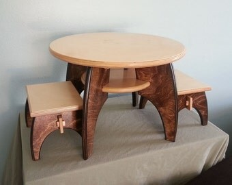 Kids' Play Table and Stools - Mid-Century Modern Collection - Natural Finish