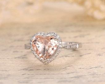8mm Heart Cut Morganite Ring 14K White Gold Morganite Engagement Ring Pave Diamond Wedding Ring Heart Cut Engagement Ring Morganite Halo