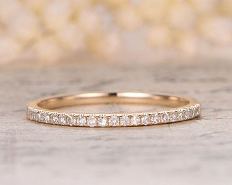Valentine's day Dimaond 14K Yellow Gold Wedding Band Half Eternity Ring Engagement Ring Stackable Ring Micro Pave Diamond Ring Eternity Band