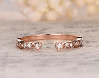 Moissanite Half Eternity Band Bezel Engagement Ring Milgrain Wedding Band Art Deco Moissanite Wedding Ring in 14k Rose Gold Opening 5mm
