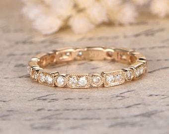 14K Yellow Gold Moissanite Wedding Band Full Eternity Ring Stackable Ring Art Deco Moissanite Ring Bezel Engagement Ring Retro Promise Ring