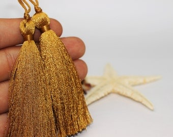 2/10/50 Pcs Egyptian Yellow Lux Tassels - 80 mm Long Thick Tassels - for your lovely diy crafts, jewelries and accessories PS084