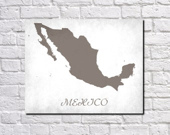 Mexico Map Print Map of Mexico Country Map Poster Mexican Gift Home Decor Wall Art