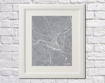 Bath Street Map Print Map of Bath City Street Map England Poster Wall Art 7083P