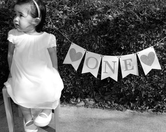 ONE Banner/ Gold Glitter Letters/Hearts/Birthdays/Photo Prop