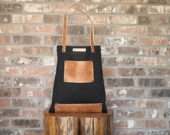Leather and Canvas Shopper with Pocket