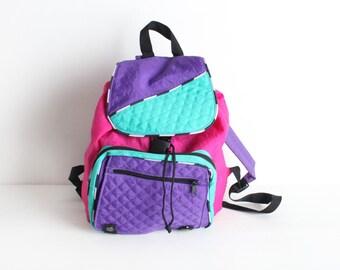 Vintage  Multicolor Windbreaker Backpack