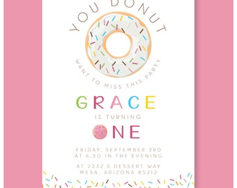 Donut birthday party invitation girl one two first second birthday