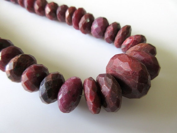 Natural Ruby Faceted Rondelle Beads, Ruby Bead Necklace ... - photo #19