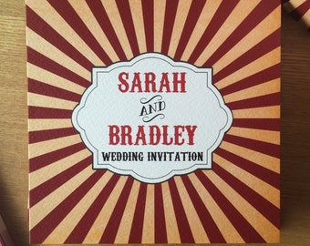 Personalised Carnival Wedding Invitations P&P + Envelopes included