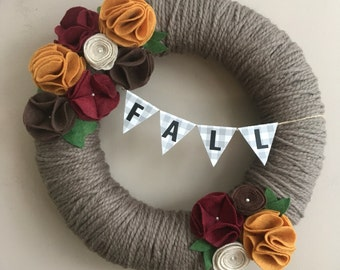 fall wreath-fall decor-felt flowers-wreath banner-wreath with felt flowers-autumn decor-autumn wreath