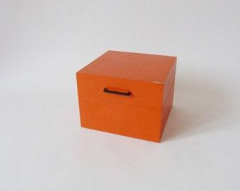 Index card box, wooden box, 70's vintage, box orange