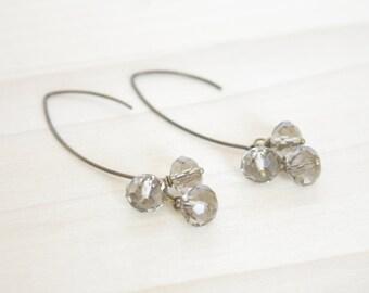 Gray Dangle Earrings - Grey Faceted Earrings, Cluster Earrings, Simple Earrings, Boho Jewelry, Delicate, Elegant Earrings, Bronze Earrings