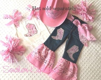 Pink Western Wear Bandanna Country Cowgirl 5pc. Set Outfit Girls Custom Boutique Pageant 12mo - 14 WesternWear New Nwt