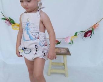 Disney Princesses baby romper. Bubble romper, sun suit.