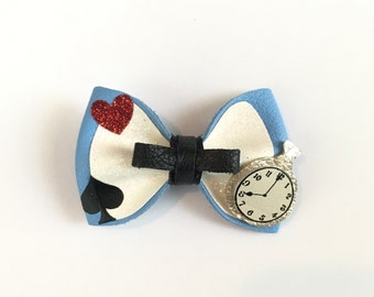 Alice In Wonderland Inspire Hair Bow Disney Leather Clip or headband