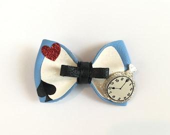 Alice In Wonderland Inspire Hair Bow Disney Leather Clip or headband