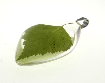 Real Birch Leaf Pendant - Transparent Resin Jewelry