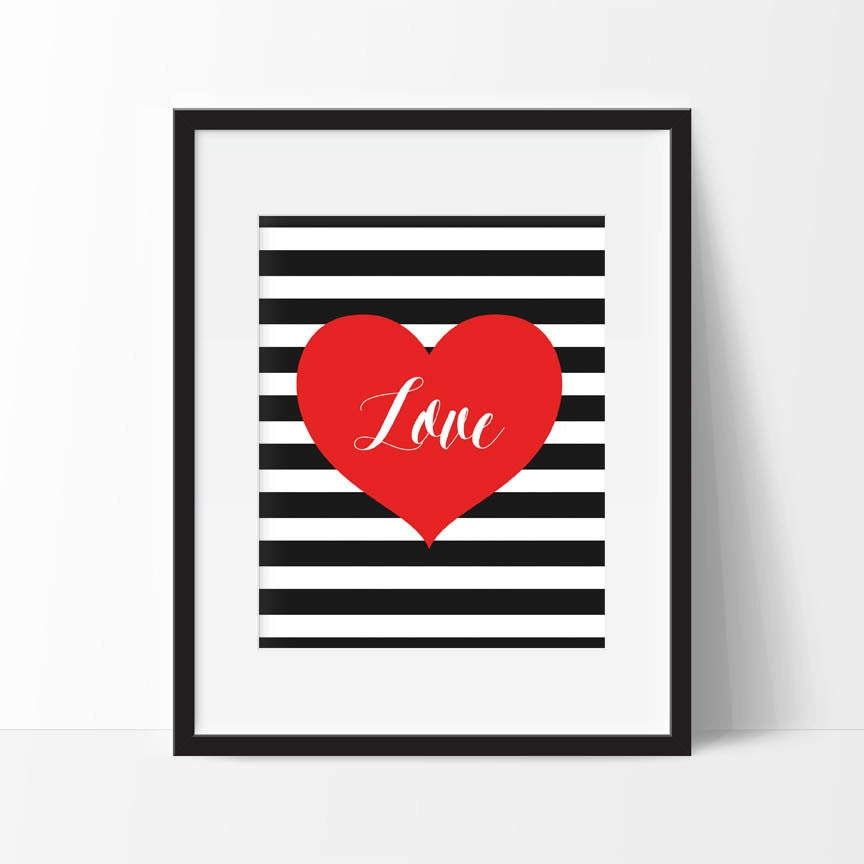 Red Love Wall Decor : Love printable wall art red heart with black white stripe