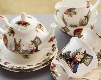 Alice In Wonderland Fine Bone China Tea Set for Two