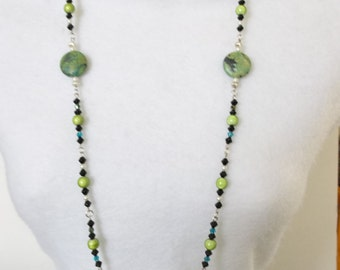 Necklace Green Wonder Beads- Black Acrylic Beads-Blue Glass Beads-Pearls-Silver Spacers-Green Turquoise Stone-Acrylic Accent -Handmade