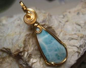 Larimar Pendant in 14k Gold-Filled Wire