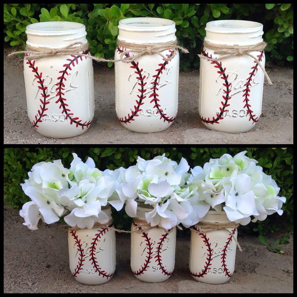 Set Of 3 Hand Painted Baseball Mason Jars Home Decor Sports