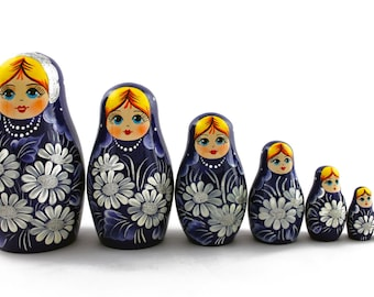 Matryoshka Matrioshka Russian Nesting Doll Babushka Beautiful Flowers Camomile Chamomile Set 7 Pieces