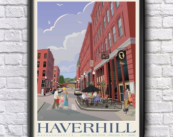 Haverhill, MA, SUMMER Cultural Arts District, Nautical coordinates, Genuine Giclee Poster on Archival Matt Paper by Leslie Alfred McGrath