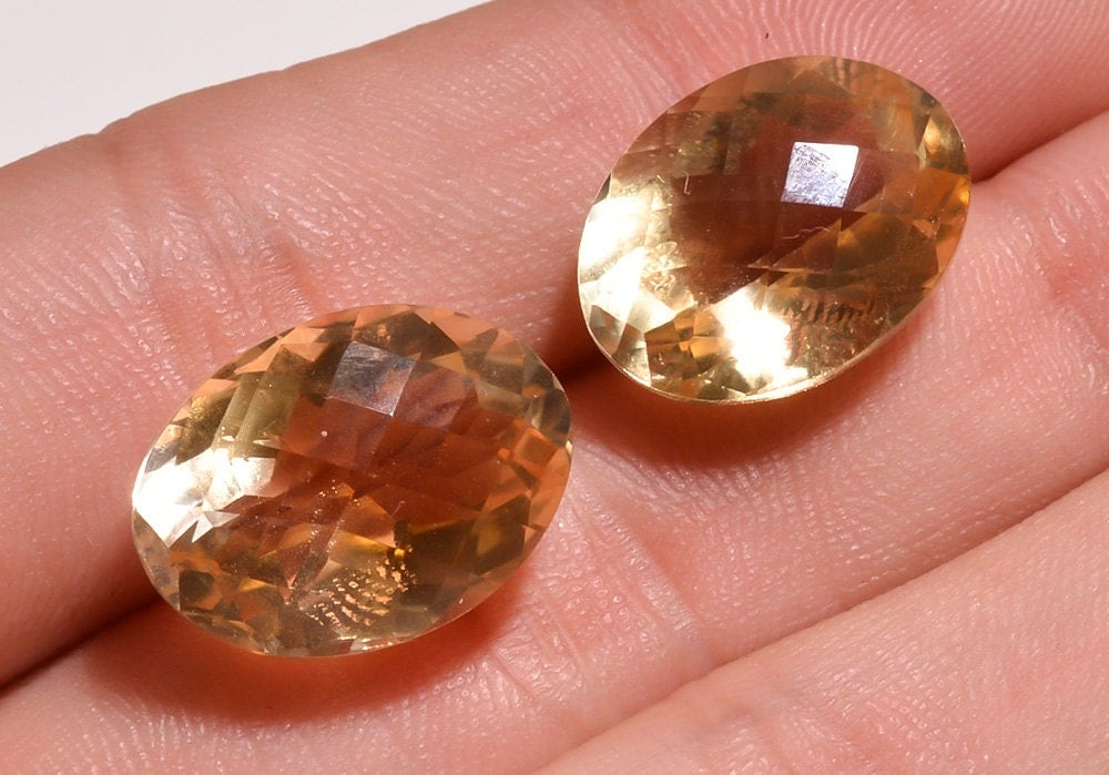 2 Pieces Lot Natural Citrine Faceted Loose Gemstones 22 Carats