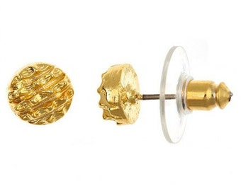 Gold-Mine Stud Earrings, 18Kt Gold Plated