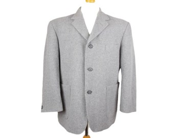 Vintage St Michael 90s Wool Blend Mens Blazer Jacket Grey UK 42 Short