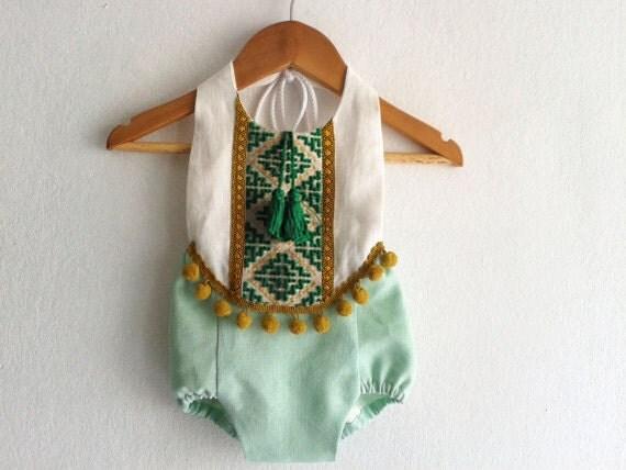 Mint green baby girl romper linen boho chic by vivabohokids