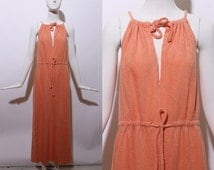 70s peach terrycloth maxi dress toweling soft textured beach resort poolside lounge sleeveless drawstring gown towel coral orange disco S M