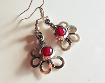 Flowers - pink raspberry - clad old Silver earrings