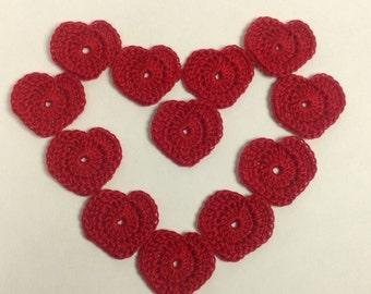 Crocheted Tiny Heart Appliqués - set of 12 (#02-08)