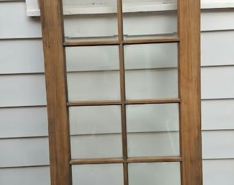 "Vintage Wood Door,  10 Pane, Beveled Glass. Room Divider, Old Wood Door, Building Supply, Architectural Salvaged, Beveled Glass 32"" x 80"""