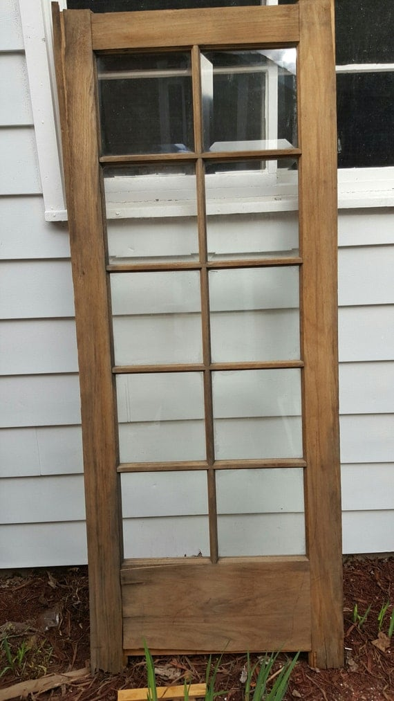 Vintage wood door 10 pane beveled glass room divider old for 10 pane glass door